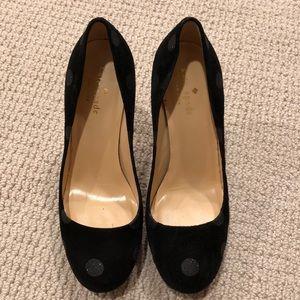 Kate spade polkadot suede heels